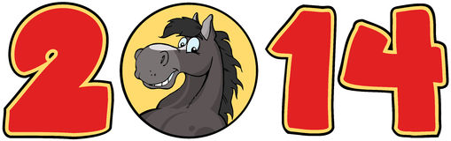 2014 Year Red Numbers With Horse Face Over A Circl. 2014 Year Red Cartoon Numbers With Horse Face Over A Circle Royalty Free Illustration