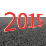 Year 2015. Red 2015 over tiles, 3d render royalty free illustration