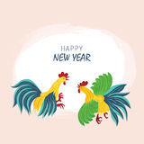 Year red rooster on the Chinese calendar. Greeting Card design with illustration of a rooster for Chinese New Year celebration.  Two bright cock fighting Royalty Free Stock Photography