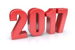 2017 year. Red 2017 year on a white background. 3d rendered image Stock Image