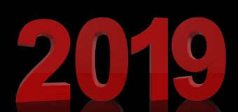 The year 2019 reflected in big red numbers Royalty Free Stock Photos