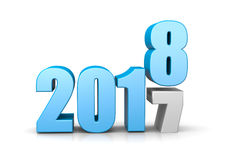 2018 Year Replace 2017, Time Passes Concept. Blue 2018 Year Number Text on Top of 2017 on White Background 3D Illustration. Time Passes Concept Stock Photography