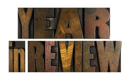 Year in Review. The words YEAR IN REVIEW written in vintage letterpress type stock image