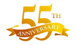 55 Year Ribbon Anniversary. Logo Design Template Vector Stock Photography