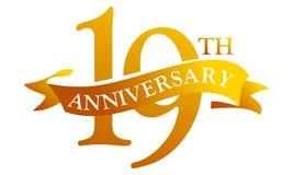 19 Year Ribbon Anniversary. Logo Design Template Vector Stock Photos