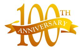100 Year Ribbon Anniversary. Logo Design Template Vector Stock Image
