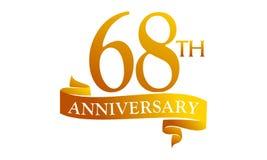 68 Year Ribbon Anniversary. Logo Design Template Vector Vector Illustration