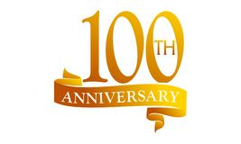 100 Year Ribbon Anniversary. Logo Design Template Vector Royalty Free Stock Image