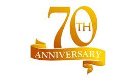 70 Year Ribbon Anniversary. Logo Design Template Vector Vector Illustration