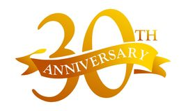 30 Year Ribbon Anniversary. Logo Design Template Vector Stock Image
