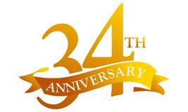 34 Year Ribbon Anniversary. Logo Design Template Vector Royalty Free Stock Photos