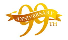 99 Year Ribbon Anniversary. Logo Design Template Vector Stock Photos