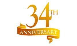 34 Year Ribbon Anniversary. Logo Design Template Vector Stock Photography