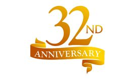 32 Year Ribbon Anniversary Royalty Free Stock Photos