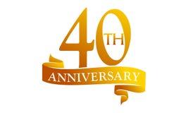 40 Year Ribbon Anniversary. Logo Design Template Vector Stock Illustration