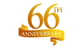 66 Year Ribbon Anniversary Stock Image