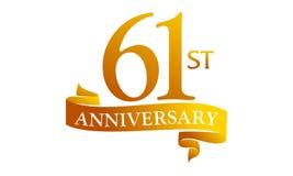 61 Year Ribbon Anniversary Stock Image