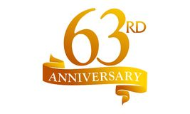 63 Year Ribbon Anniversary. Logo Design Template Vector royalty free illustration