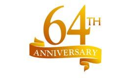 64 Year Ribbon Anniversary Stock Image