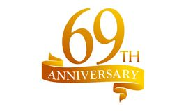 69 Year Ribbon Anniversary. Logo Design Template Vector Royalty Free Illustration