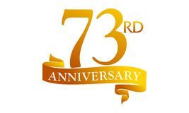 73 Year Ribbon Anniversary. Logo Design Template Vector Stock Image