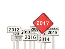 2017 year on road sign. Royalty Free Stock Photo