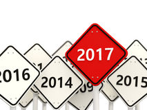 2017 year on road sign. Stock Photography