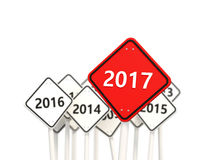 2017 year on road sign. Stock Photos