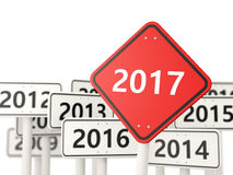 2017 year on road sign. 3D illustration Royalty Free Stock Image