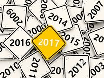 2017 year on road sign. Royalty Free Stock Photos