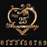 25year rocznicowy złoty serce, 25th rocznicowy dekoracyjny złoty kierowy projekt Ilustracja Wektor