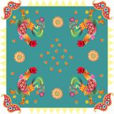 Year of the Rooster. Beautiful bandana print with fantasy roosters, paisley and flowers Royalty Free Stock Images