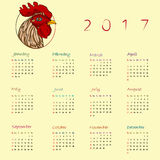 Year of the rooster calendar Royalty Free Stock Image