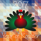 Year of Rooster chinese calendar cartoon symbol on triangle low polygon red pattern eps10. Year of Rooster chinese calendar cartoon symbol on triangle low Royalty Free Stock Photo