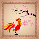 Year rooster chinese calendar sakura flower. Vector illustion eps 10 Stock Images