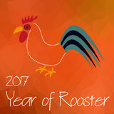 Year of Rooster chinese calendar symbol on triangle low polygon red pattern eps10 Stock Image