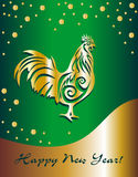 Year of the rooster. Festive green and gold background with snow. Flakes Royalty Free Stock Photos