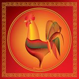 Year of the rooster with golden pattern on red background. Chinese New Year – year of the rooster with golden pattern on red background Stock Image