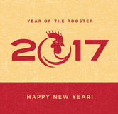 2017 year of the rooster greeting card Stock Photo