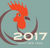 2017 year of the rooster greeting card. 2017 year of the rooster happy new year greeting card, banner design. Typography with rooster icon Stock Image