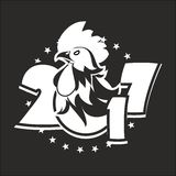 Year of the rooster logo. Vector illustration 2017 figures with the rooster logo on the Eastern calendar, the black and white version Stock Photo
