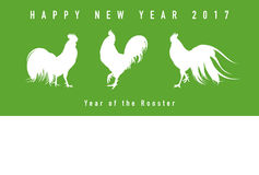 Year of the rooster New year card. Silhouettes of the roosters Stock Photography
