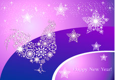 Year of the rooster. New Year`s cock on trendy purple-pink backg. Round morning. Pattern of snowflakes and stars Stock Photography