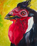 2017 year of the Rooster. Picture, oil paint. Portrait of the Rooster, picture Stock Images