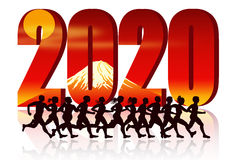 Year 2020 with Runners Stock Photos