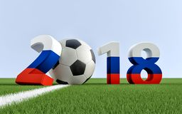 2018 Russia - a soccer ball representing the 0. Year 2018 in russian flag colors. A soccer ball representing the 0 in 2018.  3D Rendering Stock Photo