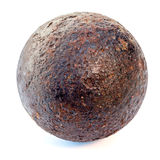 1812 year rust cannonball. Isolated on a white background Royalty Free Stock Photo