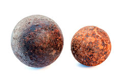 1812 year rust cannonballs. Isolated on a white background Stock Images