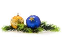 Year's tree balls.Christmas, New Year. New Year's tree balls against the backdrop of Christmas trees Royalty Free Stock Image