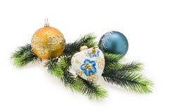 Year's tree balls.Christmas, New Year. New Year's tree balls against the backdrop of Christmas trees Stock Image